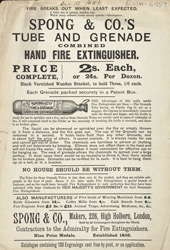 Advert for Spong & Co's hand fire extinguisher